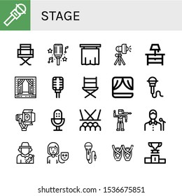 Set of stage icons. Such as Microphone, Director chair, Curtain, Studio lighting, Night stand, Stage, Directors chair, Spotlight, Bollywood, Singer, Musician, Actor , stage icons
