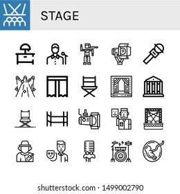 Set of stage icons such as Stage, Night stand, Singer, Bollywood, Spotlight, Microphone, Spotlights, Curtain, Directors chair, Theatre, Director chair, Scaffolding, Actor , stage