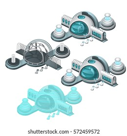 The set of stages of construction and destruction of futuristic research station isolated on white background. Cartoon vector illustration close-up.