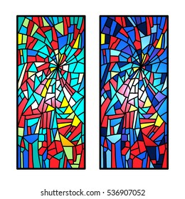 Set stained glass decorative pattern colored mosaic