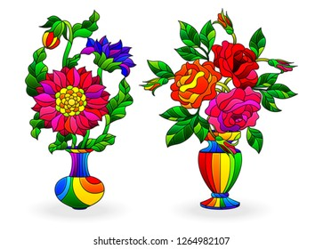 Set of stained glass elements, vases with flowers,astras and  roses   in bright vases, isolated on white background