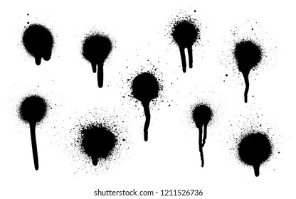 A set of stains with smears made by the spray. Highly detailed template for background or design. Vector illustration EPS 10