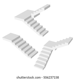 Set staircase 3d concrete. Blank up ladder isolated. Vector illustration on a white background.