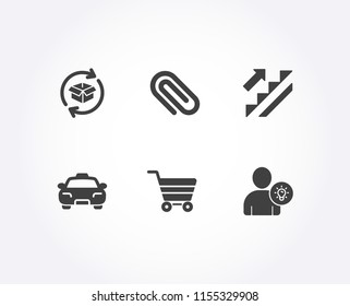 Set of Stairs, Return parcel and Market sale icons. Taxi, Paper clip and User idea signs. Stairway, Exchange of goods, Customer buying. Passengers transport, Attach paperclip, Light bulb. Vector