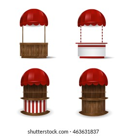 Set stalls under red awnings. Stand for sale. Vector illustration.
