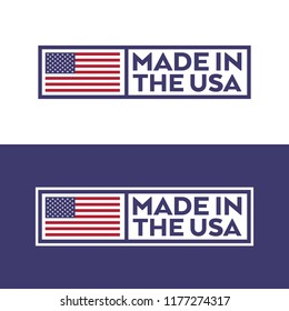 A set of stamps with an American flag and text that says made in the USA