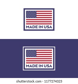 A set of stamps with an American flag and text that says made in USA