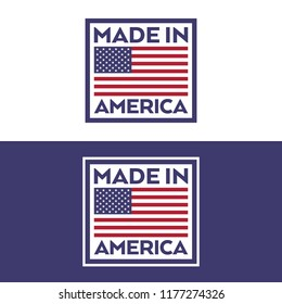 A set of stamps with an American flag and text that says made in America