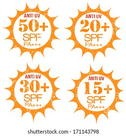 Set of stamps with Anti-UV  50+, 20+, 30+, 15+ SPF PA+++, on white, vector illustration