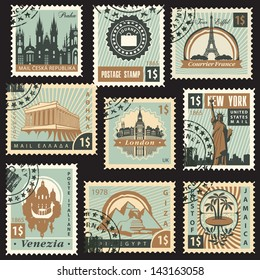 set of stamps from different countries with architectural landmarks
