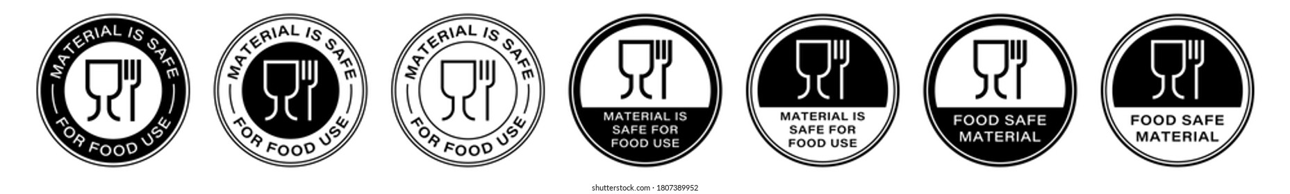 Set of stamps. Labeling - not food grade or non food grade materials. Glass and fork flat icon stamp set. Vector grouped elements.
