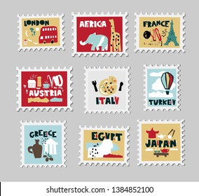 Set of stamps, postage stamp with country landmarks, iconic symbols in paper cut style. London, Africa, Turkey, Greece, Japan, Italy, France, Austria, Egypt. Hand drawn vector illustration
