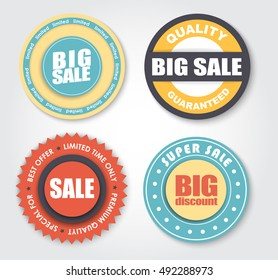 Set of stamps for the sale of shares. Templates stickers retro. Vector illustration