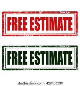 Set of stamps with text Free Estimate,vector illustration