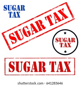 Set of stamps with text Sugar Tax,vector illustration