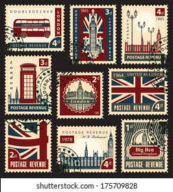 set of stamps with the Union Jack, Parliament, Big Ben and London