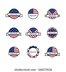 Set of stamps with USA flags. American made sign