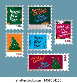 Set of stamps with the words of a happy new year written by hand with figures 2020 for posters and invitations for the new year party and christmas. Vector cute cartoon illustration
