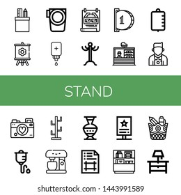 Set of stand icons such as Stationery, Canvas, Paddle, Intravenous saline drip, Poster, Coat rack, Insert coin, Stand, Iv bag, Photographer, Intravenous therapy, Coat stand ,