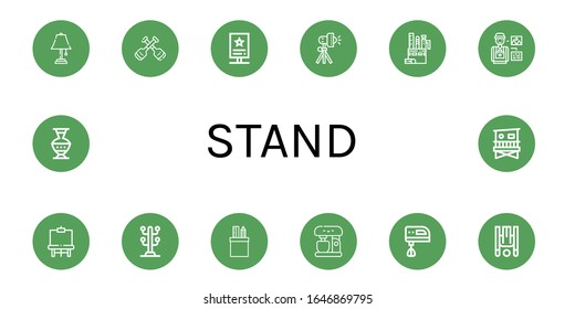 Set of stand icons. Such as Table lamp, Paddles, Stand, Studio lighting, Stationery, Photographer, Easel, Coat stand, Mixer, Electric mixer, Inversion therapy, Pottery , icons
