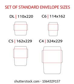 Set of standard types envelopes vector die cut template: DL/E65, C6, C5, C4. Vector black isolated circuit envelope, A6, A5, A4, DL dimensions. Envelope mock up.