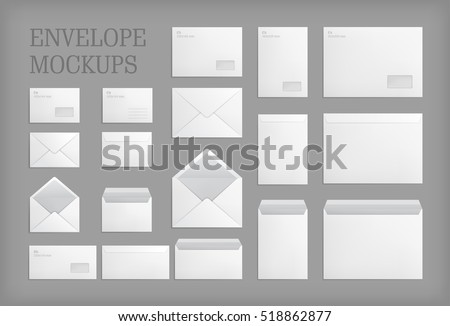 pictures for office. Set Of Standard White Paper Envelopes For Office Document Or Message.  Vector Empty Mockups. Pictures P