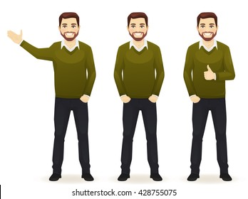 Set of standing business men in different poses wearing casual clothes isolated. Thumbing up, showing and with hands in pocket.