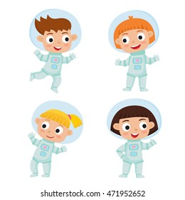 Set with standing and flying astronaut kids isolated on white background. Cartoon pretty girls wearing astronaut costume. Vector illustration used for child books, stickers, posters, web pages.