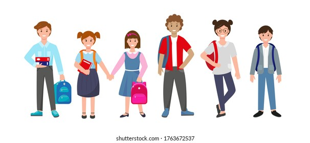 Set of standing pupils with books and school bags. Smiling school boys and girls on white background. Vector illustration.