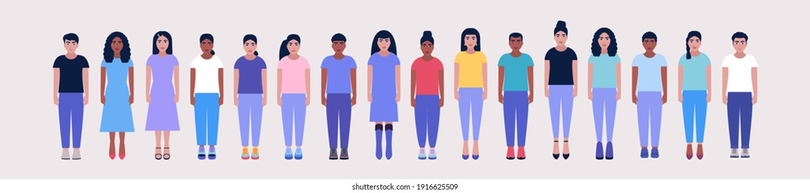 Set of standing young people. Vector illustration in a flat style