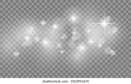 Set of Star burst and sparkles with glowing light effects. Sun flash with spotlight isolated on transparent background. Vector illustration.