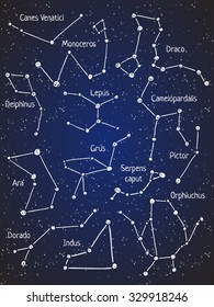Set of star constellations. Vector space and astronomy illustration.