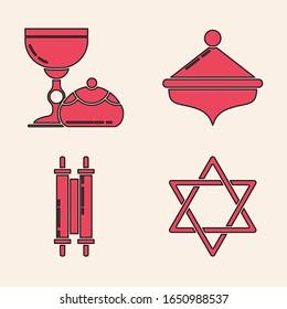 Set Star of David, Jewish goblet and hanukkah sufganiyot, Hanukkah dreidel and Torah scroll icon. Vector