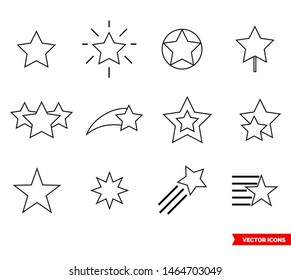 Set of star icon of outline type. Isolated vector sign symbol.