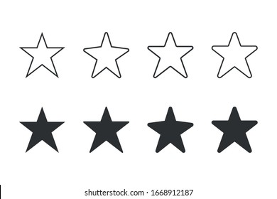 Set of Star icon vector flat. on blank background