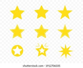 Set of star icons isolated on transparent background. Sparkles, shining burst, twinkling, glitter. Vector illustration