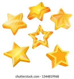 Set of star vector 3d icons isolated. Cartoon stars design