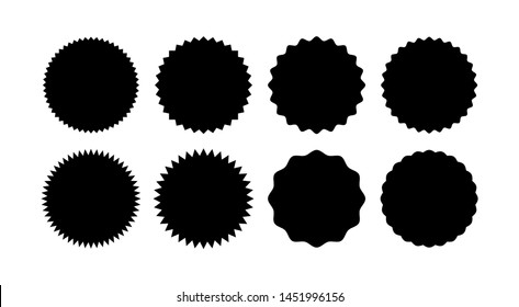 Set of starburst badges. Sunburst stickers. Black and white labels - Vector