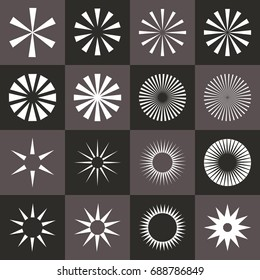 Set of starburst shape on black background. Rays in abstract circular geometric shapes. Vector illustration EPS-8.