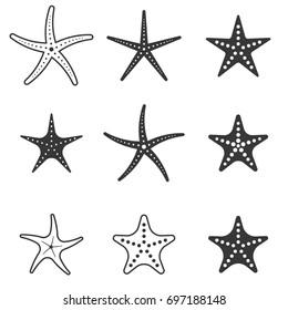 set of starfish icon, silhouette icon