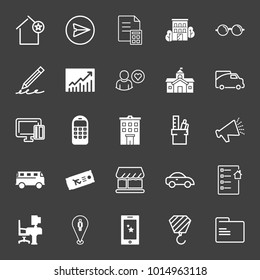 set of starred house,chat, document, building, glasses, pencil, chart increase, government, truck, cellphone, loudspeaker, plane ticket, smart phone, crane, folder, car, checklist vector icon