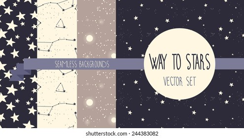 set of starry seamless backgrounds, vector illustration