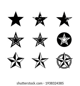 set of stars in black and white for army or navy