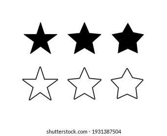 Set of stars icon, star symbol collection, black and white color - Vector