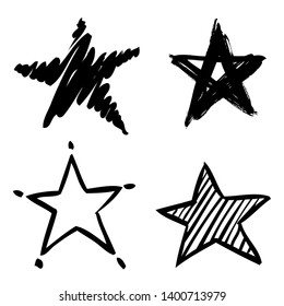 Set of stars painted by hand.