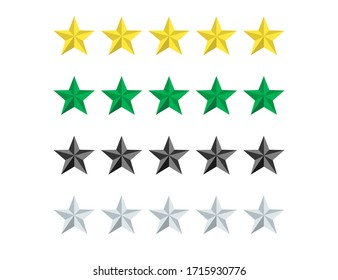 Set of stars rate in yellow, green, grey and black colors. Review or vote evaluation rank. Five stars for quality. Excellent ranking. Top rank of satisfaction. Isolated icons. Vector EPS 10.