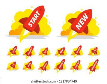 Set start red rocket color illustration. The startup. Starting a business.