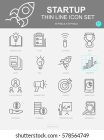 Set of Start up Vector Line Icons. Includes Knowledge, Plan, Control, Data and more. 50 x 50 Pixel.