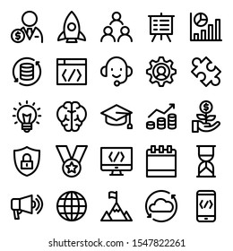 set of startup technology icons with simple outline style, vector eps 10