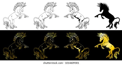 Set the state proud unicorns who got on hind legs black on white and gold on black line-art and silhouette. The planimetric manual drawing an illustration, the page for the book of a coloring.
